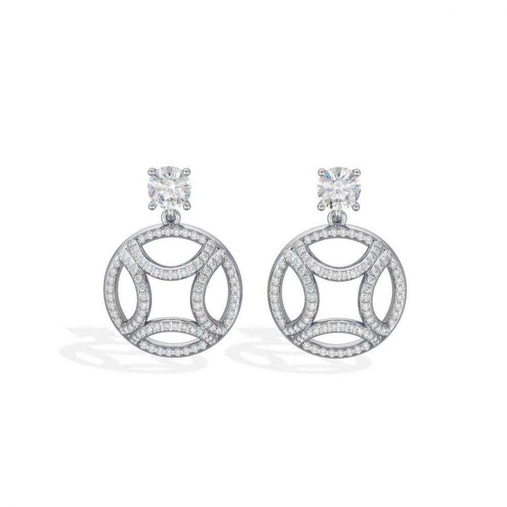 Boucles d'oreilles pendant or blanc diamant synthèse 0.5 brillant pavé Perpétuel.le Loyal.e Paris 1