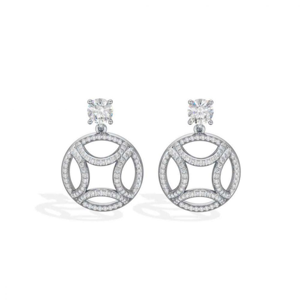 Earrings pendant white gold lab grown diamond 0.5 brilliant pavé Perpétuel.le Loyal.e Paris 1