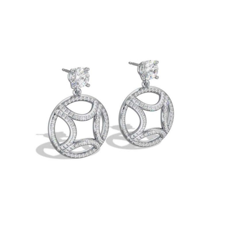 Boucles d'oreilles pendant or blanc diamant synthèse 0.5 brillant pavé Perpétuel.le Loyal.e Paris 2