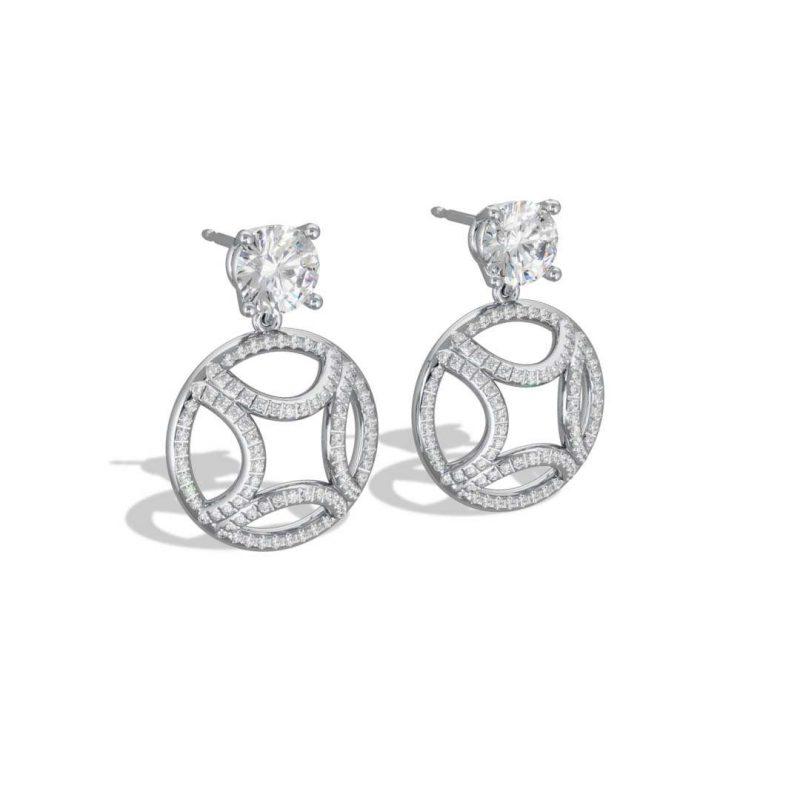 Earrings pendant white gold lab grown diamond 1 brilliant pavé Perpétuel.le Loyal.e Paris 2
