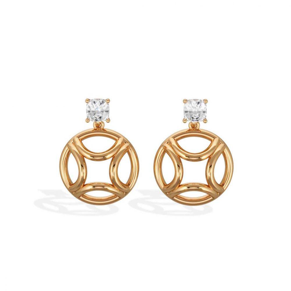 Boucles d'oreilles pendant or jaune diamant synthèse 0.5 coussin Perpétuel.le Loyal.e Paris 1