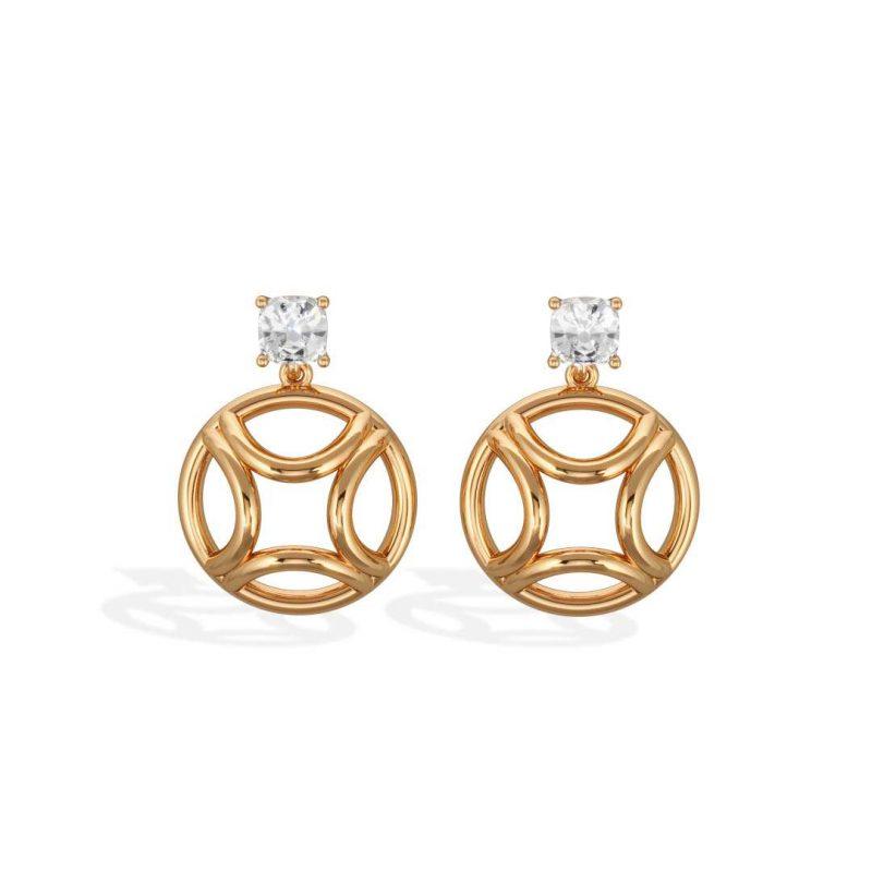 Earrings pendant yellow gold lab grown diamond 0.5 cushion Perpétuel.le Loyal.e Paris 1