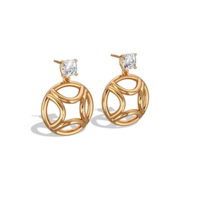 Earrings pendant yellow gold lab grown diamond 0.5 cushion Perpétuel.le Loyal.e Paris 2