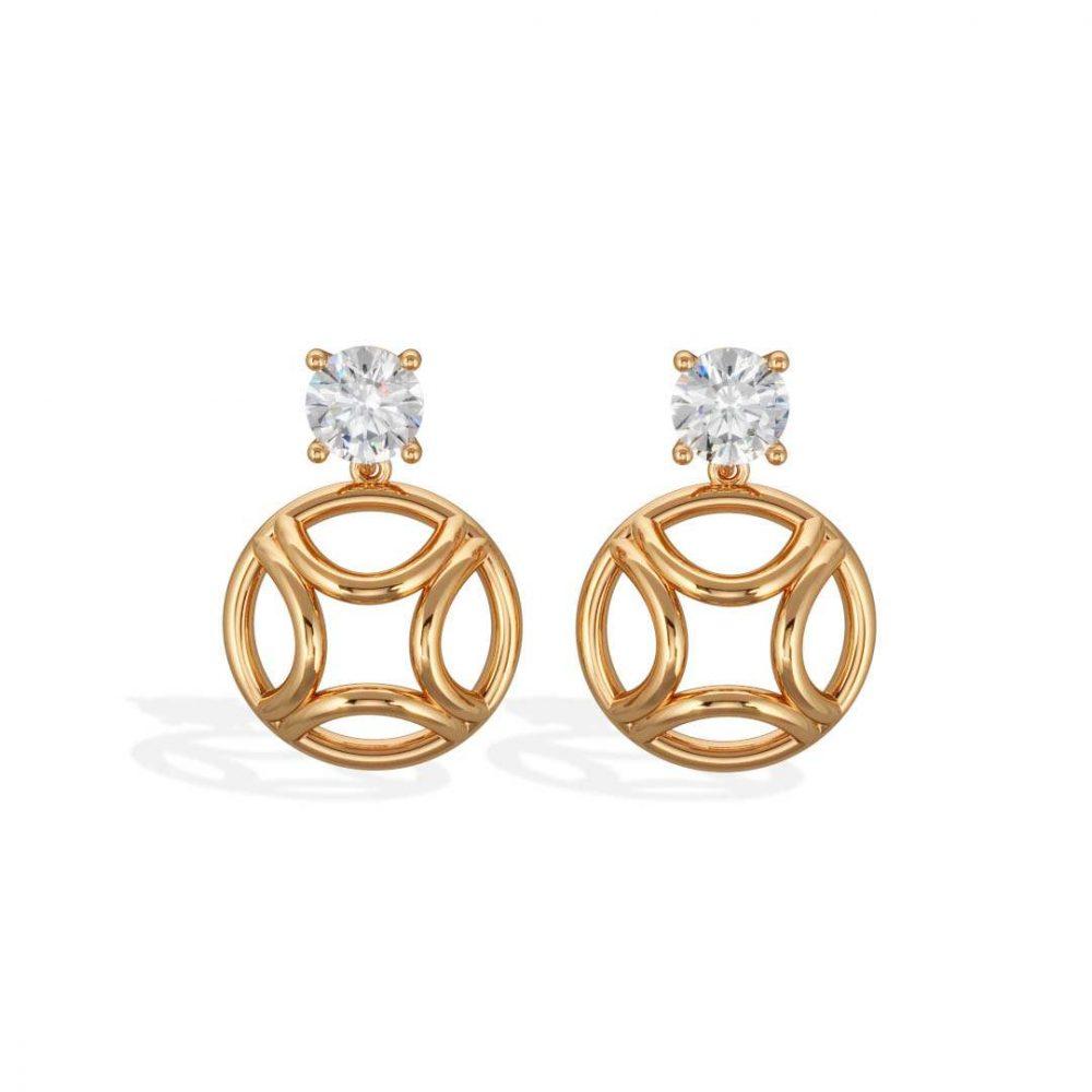 Boucles d'oreilles pendant or jaune diamant synthèse 1 brillant Perpétuel.le Loyal.e Paris 1