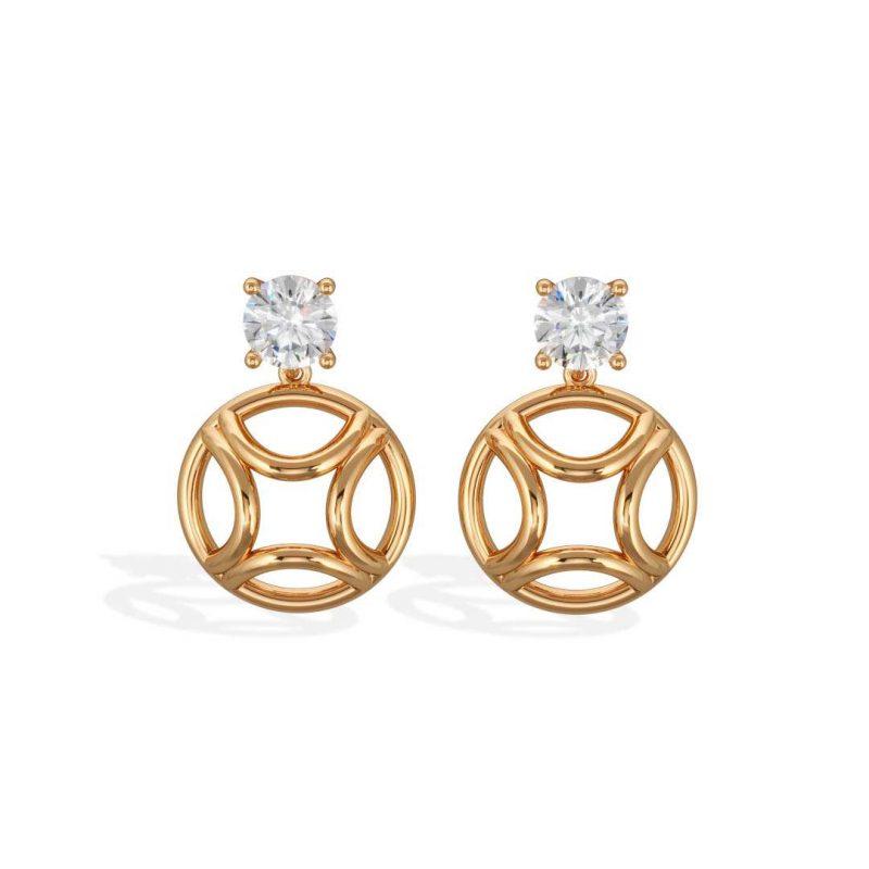 Earrings pendant yellow gold lab grown diamond 1 brillant Perpétuel.le Loyal.e Paris 1