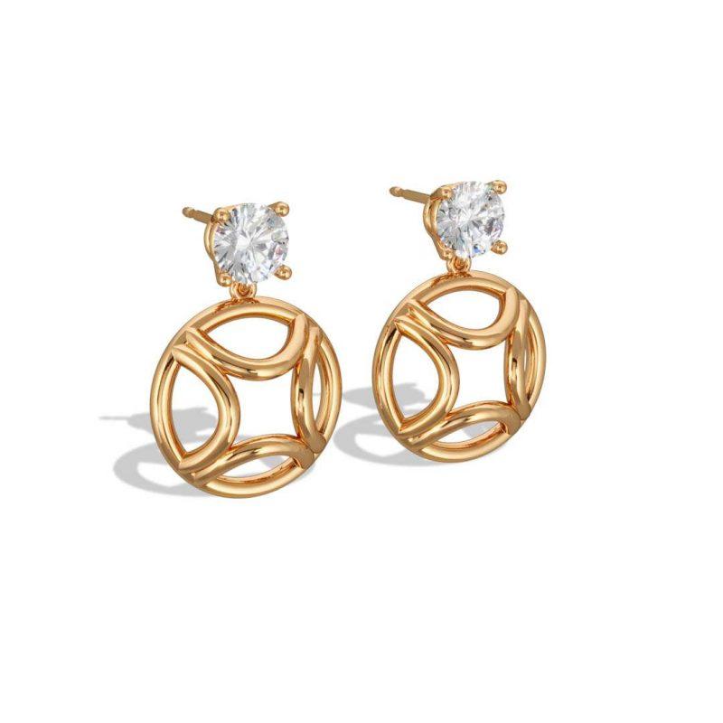 Earrings pendant yellow gold lab grown diamond 1 brillant Perpétuel.le Loyal.e Paris 2