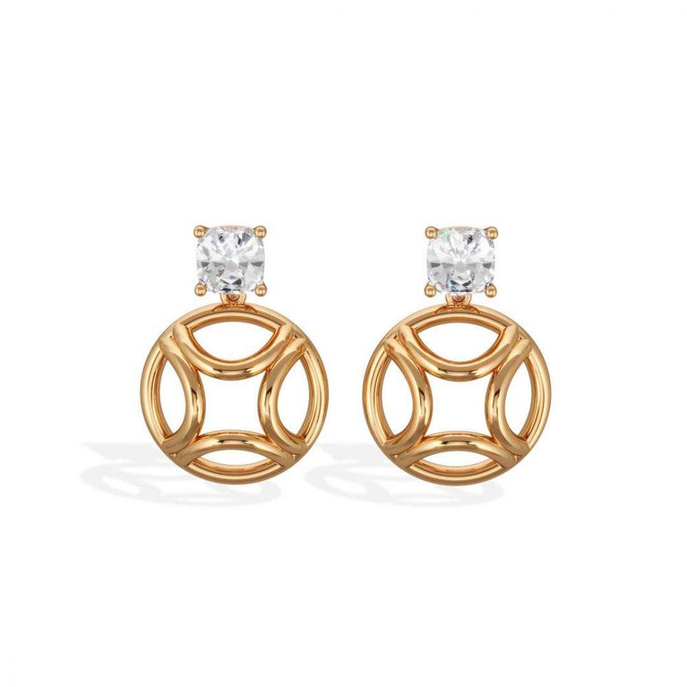 Boucles d'oreilles pendant or jaune diamant synthèse 1 coussin Perpétuel.le Loyal.e Paris 1