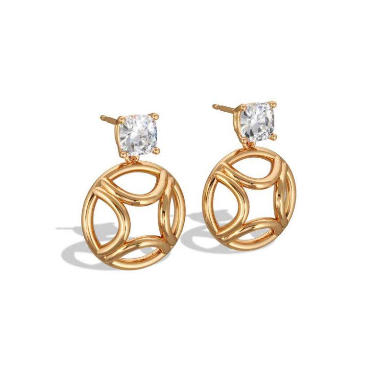 Boucles d'oreilles pendant or jaune diamant synthèse 1 coussin Perpétuel.le Loyal.e Paris 2