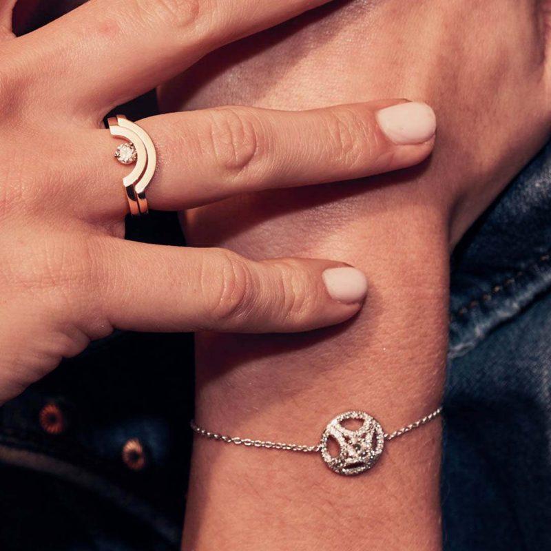Bracelet recycled gold lab grown diamond women ethical jewelry Loyal.e Paris 1