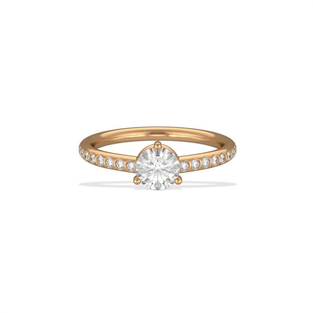 Solitaire pavé or jaune diamant synthèse 0.5 Les Absolu.e.s 1 Loyal.e Paris