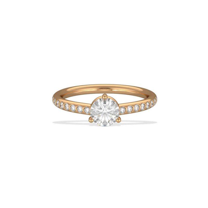 Solitaire pavé yellow gold lab grown diamond 0.5 Les Absolu.e.s 1 Loyal.e Paris